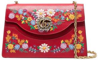 Gucci red large Ricami leather floral embroidered shoulder bag