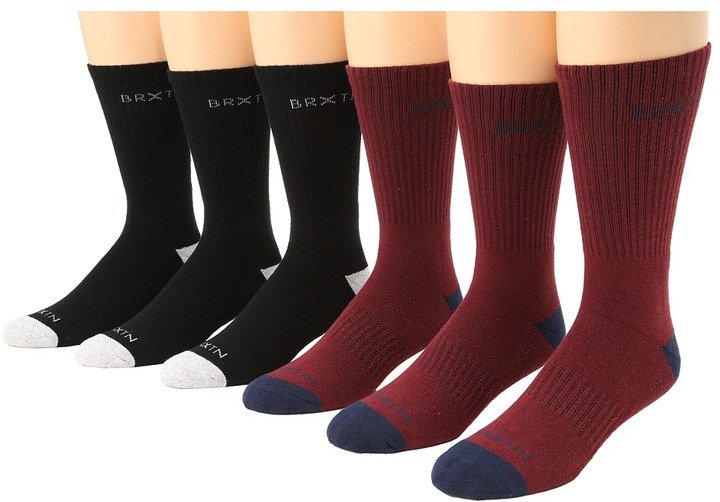 Brixton Hurst 6-Pair Pack (Port/Black) - Footwear