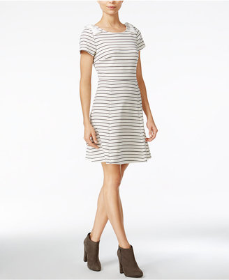 Maison Jules Striped Bow-Shoulder Fit & Flare Dress, Only at Macy's $79.50 thestylecure.com