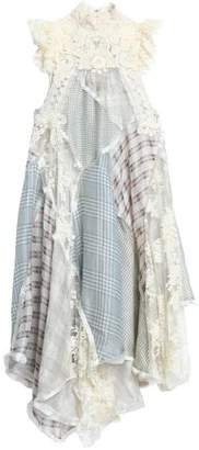 Zimmermann Asymmetric Lace-Paneled Checked Silk And Linen-Blend Midi Dress
