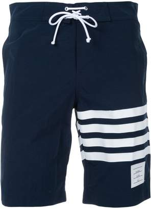Thom Browne Board Short With Printed 4-bar In Navy Brushed Finish Swim Tech