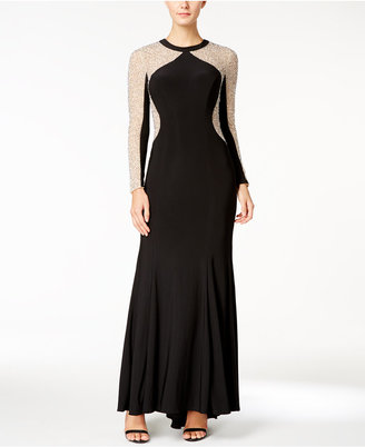 XSCAPE Beaded Illusion-Inset Mermaid Gown $249 thestylecure.com