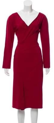 Alberta Ferretti Virgin Wool Midi Dress