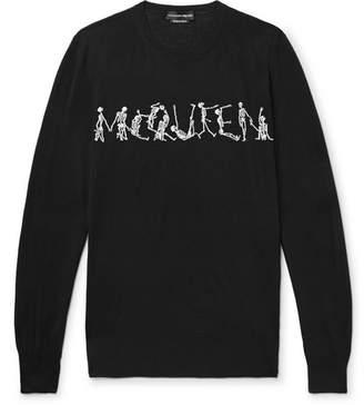 Alexander McQueen Slim-Fit Skeleton-Intarsia Wool Sweater