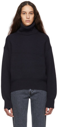 Helmut Lang Navy Wool and Cotton Turtleneck