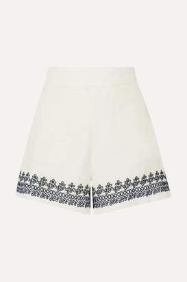 J.Crew Embroidered Linen Shorts - Ivory