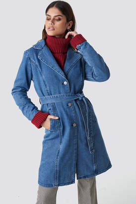 NA-KD Na Kd Fitted Long Denim Jacket Mid Blue