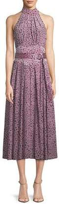 Diane von Furstenberg Halter-Neck Floral Belted Dress
