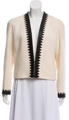 Chanel Paris-Salzburg Wool Leather-Trimmed Jacket wool Paris-Salzburg Wool Leather-Trimmed Jacket