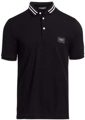 Dolce & Gabbana Short-Sleeve Logo Patch Polo Shirt