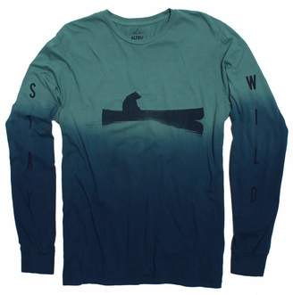 Altru APPAREL Up a Creek Bear in a Canoe dip-dye long sleeve graphic shirt