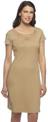 Liz Claiborne New York Petite Knit Dress with Lace Detail