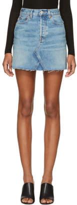 RE/DONE Blue Originals High-Rise Rigid Denim Miniskirt
