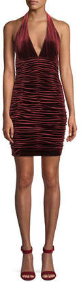 Aidan Mattox V-Neck Shirred Velvet Body-Con Mini Cocktail Halter Dress