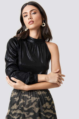 Rut & Circle Rut&Circle Metallic One Shoulder Top Black