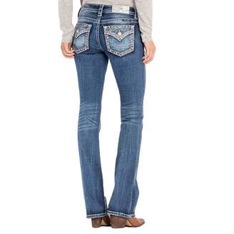 Miss Me Border Design Low Rise Boot Cut Womens Jeans L3222B