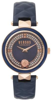 Versus By Versace VERSUS Versace Covent Garden Crystal Accent Leather Strap Watch, 36mm