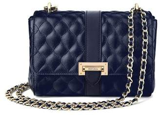 Aspinal of London Small Lottie Bag In Navy Quilted Kaviar