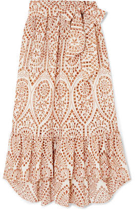 Lisa Marie Fernandez Nicole Embroidered Broderie Anglaise Cotton Maxi Skirt - Orange