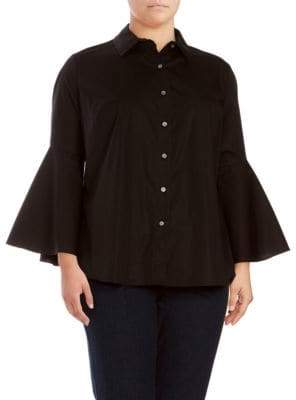 Vince Camuto Trumpet Bell Sleeve Button-Down Shirt