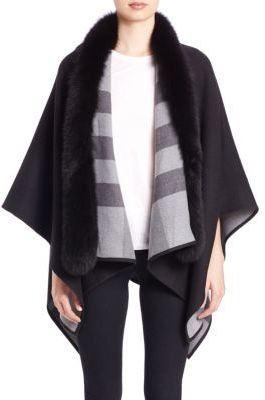 Burberry Fox-Fur-Trimmed Merino Wool Poncho $1,495 thestylecure.com