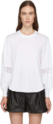 See by Chloe White Lace Detail T-Shirt