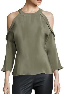 Ramy Brook Vivica Ruffle Silk Cold-Shoulder Blouse $345 thestylecure.com