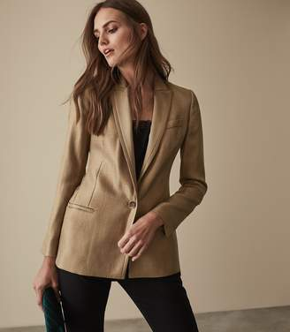 Reiss Dashelle - Satin Faced Metallic Blazer in Gold