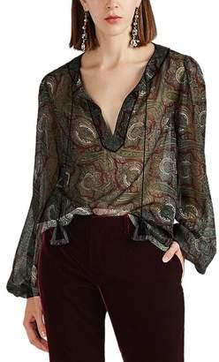 Saint Laurent Women's Paisley Wool Peasant Blouse