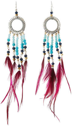 Nakamol Long Beaded Hoop Drop Feather Earrings