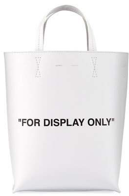 Off-White Leather For Display Only Tote Bag, White/Black