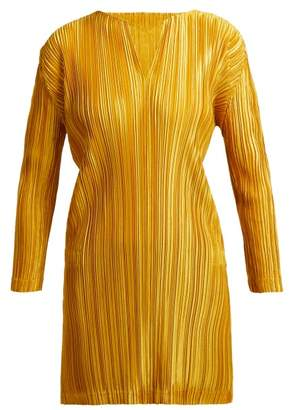 Pleats Please Issey Miyake Pleated Notched Neck Tunic Top - Womens - Yellow