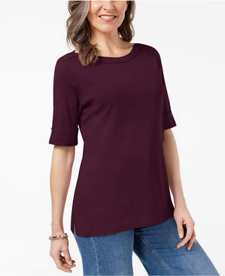 Karen Scott Cotton Petite Boat-Neck Top, Created for Macy's