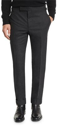 TOM FORD O'Connor Base Flannel Classic Trousers, Charcoal $1,190 thestylecure.com