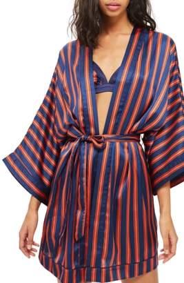 Topshop Stripe Satin Short Robe