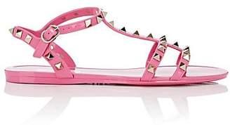 Valentino Women's Rockstud PVC T-Strap Sandals - Pink