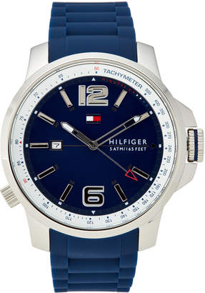 Tommy Hilfiger 1791220 Silver-Tone & Blue Brandon Watch