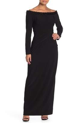 Marina Off-the-Shoulder Beaded Neckline Long Dress