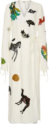 Animal Embellished Wrap Midi Dress