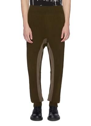 Haider Ackermann Grosgrain trim linen knit drop crotch jogging pants