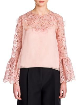 Fendi Organza Lace Bell Sleeve Blouse