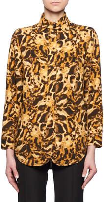 Victoria Beckham Long-Sleeve Button-Front Leopard-Print Blouse