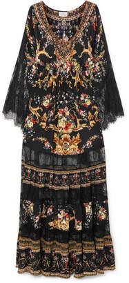 Camilla Lace-paneled Embellished Floral-print Silk Crepe De Chine Maxi Dress - Black