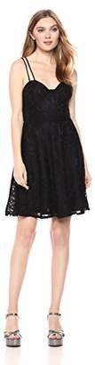 Romantic Dreamers Women's Double Strappy Back Allover Lace Skater Dress