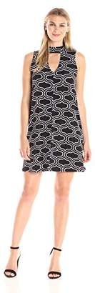 Tiana B Women's Grid Printed Jersey Mock Dress with Front Keyhole