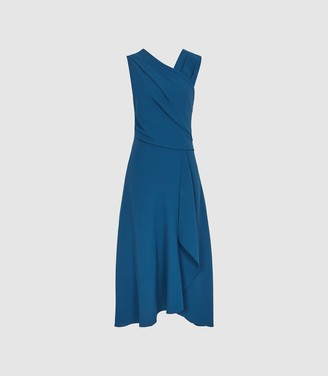 Reiss Marling - Wrap Front Midi Dress in Teal