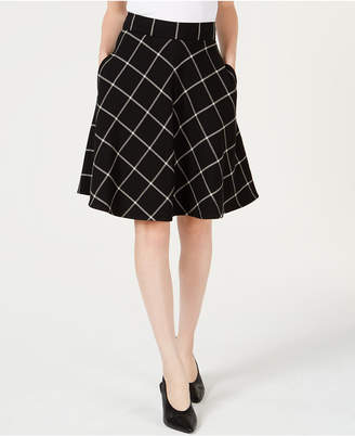 Maison Jules Windowpane-Print A-Line Skirt, Created for Macy's