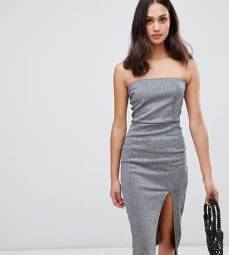 Miss Selfridge pencil dress with slip in silver