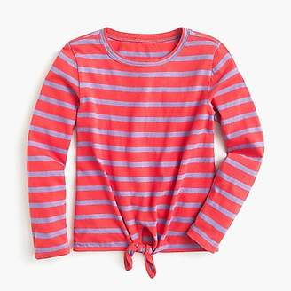 J.Crew Girls' tie-front long-sleeve T-shirt in stripes
