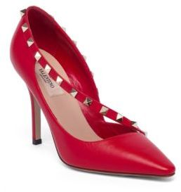 Valentino Rockstud d'Orsay Leather Point Toe Pumps $895 thestylecure.com